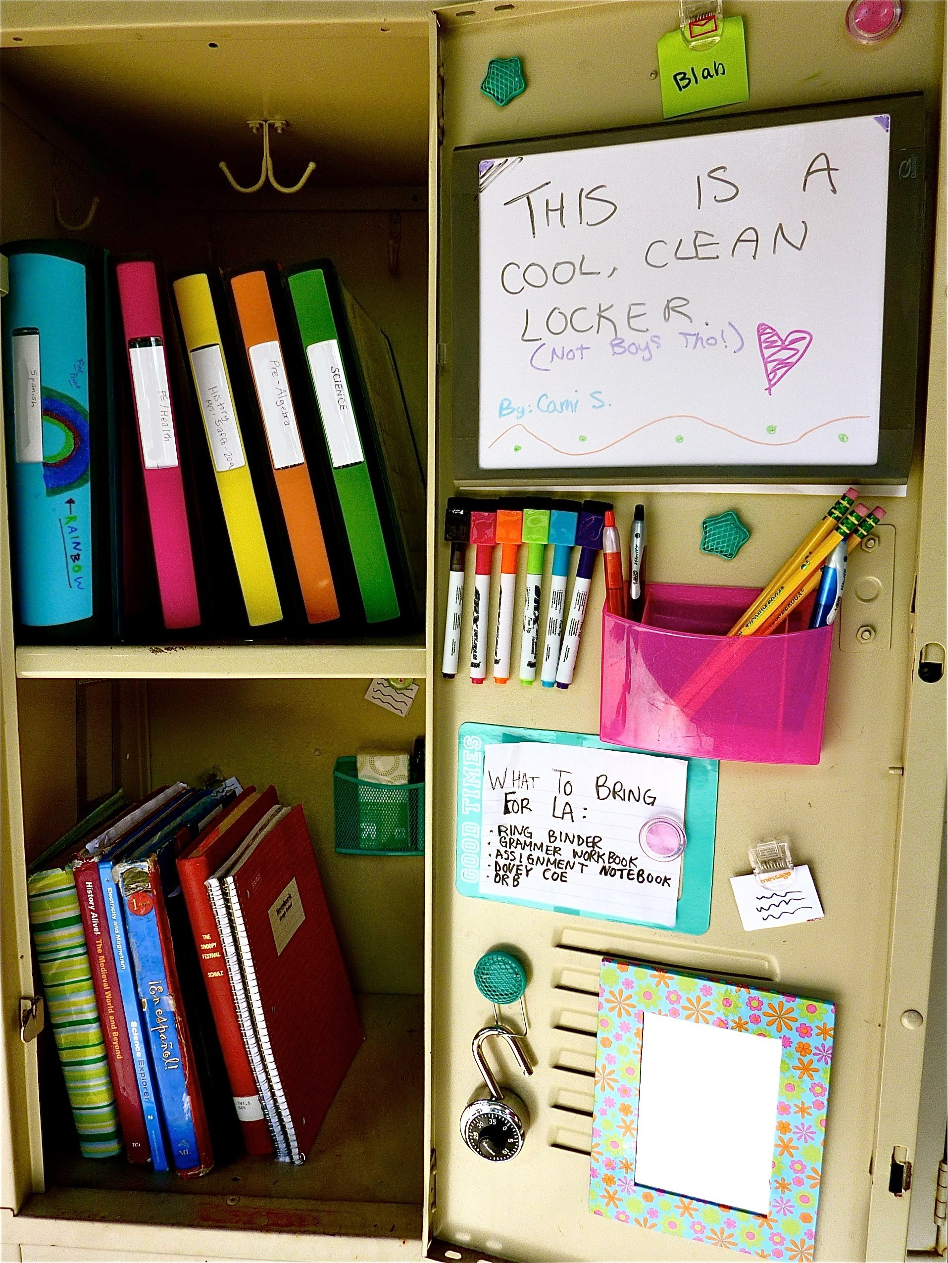 Colorful locker organizers and school supplies